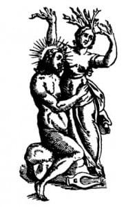 Дафна, преследуемая Аполлоном в момент ее превращения в дерево. В. Картари, 1647 г.