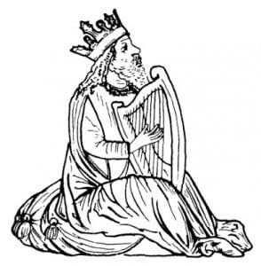 Давид с арфой. Еврейская миниатюра из Италии, ок. 1460 г.