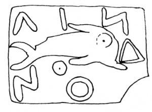 Изображение дельфина на древнегреческой монете (золото, серебро и магниевый снлав). Линдос, 560— 520 г. до н. э.
