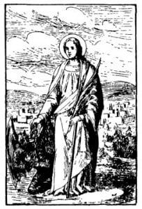 Дева. Св. Юлиана с окованным бесом. В. Ауэр. Легенда о святых, 1890 г.