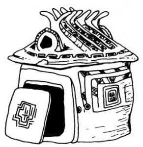 Дом. Этрусская погребальная урна для пепла как символ дома умершего. Терракота, ок. 780 г. до н. э.