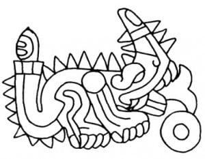 Символическое животное (дракон) Сипактли с хвостом в виде каменного ножа. Древнемексиканский календарь
