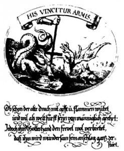 Дракон дьявола. Эмблема на меди. В. X. фон Хохберг, 1675 г.