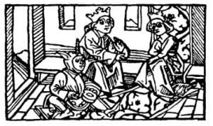 """Дурак: Придворный шут перед королевской четой. """"История Тристана и Изольды"""", 1484 г."""