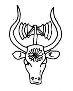 Двойной топор на голове быка. Античный каменный орнамент. Греция эпохи расцвета Микен